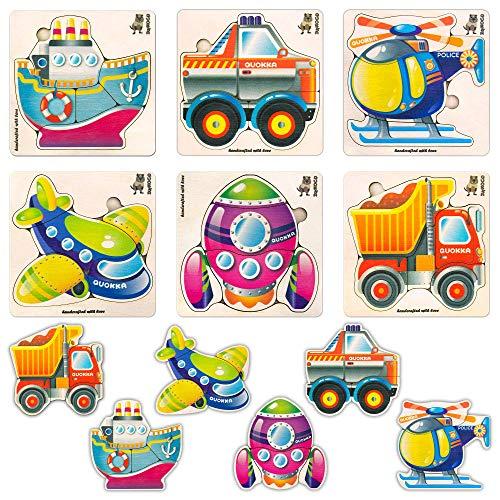 Quokka Rompecabezas De Madera Juguetes para Niños Pequeños - Paquete De 6 - Juegos Educativos De Madera para Niños para Vehículos De Aprendizaje  