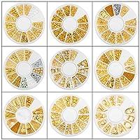 ASNOMY ネイルパーツ メタルパーツ 金属パーツ ネイルアート メタルパーツ デコ セルフネイル レジン ネイル 9ケースセット ジェルネイル レジン 大容量タイプ