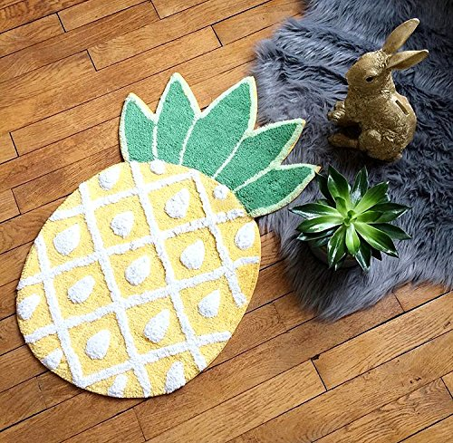 YOUSA Pineapple Door Mat Cartoon Area Rugs Pineapple Welcome Rug (32.6''x19.3''x7.1'')