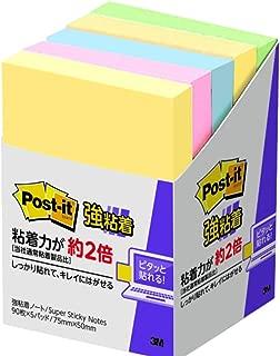 ポストイット 強粘着 付箋 ノート パステルカラー 75×50mm 90枚×5パッド 656-5SSAP