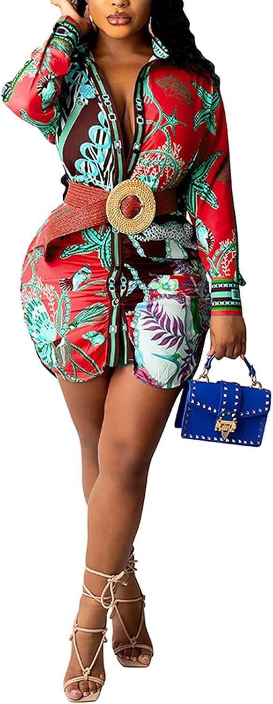 Women Sexy Floral Print V Neck Long Sleeve T Shirt Blouse Top Button Down Shirt Short Mini Dress