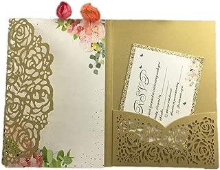 1Pcs Hollow Laser Cut Tri-Fold White Rose Flower Pocketfold Wedding Invitation Card Pocket,Dark Gold,Cover Only