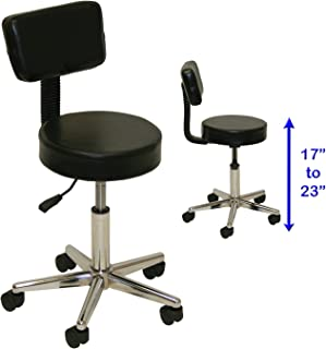 400Lb Capacity! LCL Beauty Regular Height Super Heavy Duty Extra Large Deluxe Air-Lift Technician Stool with Welded Steel Base