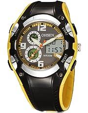 OHSEN 腕時計 キッズ スポーツ アナデジ表示 LCDバックライト 日付曜日 ストップウォッチ アラーム 30M防水 ブラック