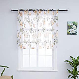 WUBODTI Floral Sheer Voile Window Tier Curtains Voile Tulle Fabric Kitchen Valances Roman Cafe Drapes and Curtains Window Treatments for Bathroom Bedroom, Yellow Peony, 29''W x 28''L