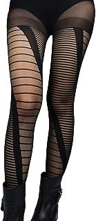 Women Fashion Modern Novelty Diamond Striped Pattern Sheer Stockings Pantyhose