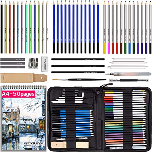 Drawing Pencils with Sketchbook 50 Pages, Colored Pencils 53pcs Set in a Portable Zipper Case, Watercolor n Metallic Pencils, Sketch Pencils n Accessories Included for Kids n Adults, Beginners n Pros