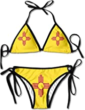 LINGMEI Flag of New Mexico Sexy Boxing Bikini Women Halterneck Top and Set Swimsuits Beach Swimming