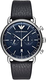 Emporio Armani Men's Blue Dial Leather Band Watch - AR11105