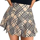 Falda plisada para mujer y niña, minifalda a cuadros de cintura alta con cremallera lateral, línea A casual, chic moda Cachi Plaid S