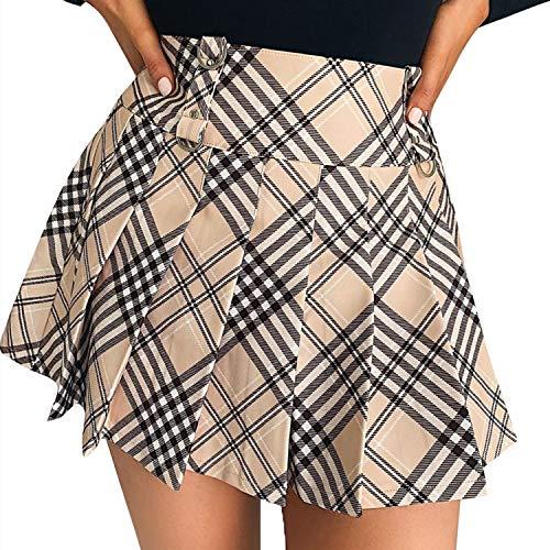 Falda plisada para mujer y niña, minifalda a cuadros de cintura alta con cremallera lateral, línea A casual, chic moda, Khaki Plaid, S