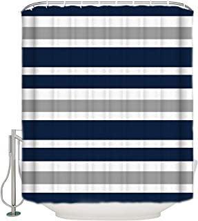 Shower Curtain Teen Stripes Navy Blue, Gray and White Waterproof Polyester Fabric Bath Curtains with Hooks Bathroom Decor- 72x72in