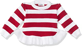 Giggles Two-Tone Striped Round-Neck Long-Sleeves Ruffled-Hem Knitted Pullover for Girls