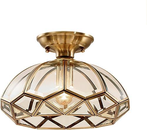 Lampe de plafond en verre clair abat-jour en verre abat-jour lampe en laiton ronde E27 pour salon couloir allée salle à hommeger, H20  L28cm