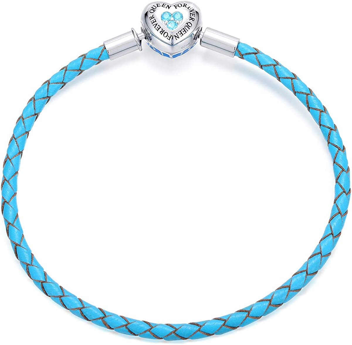 Sacramento Mall FOREVER favorite QUEEN GenuineBlue Braided 925 Bracelet with Leather