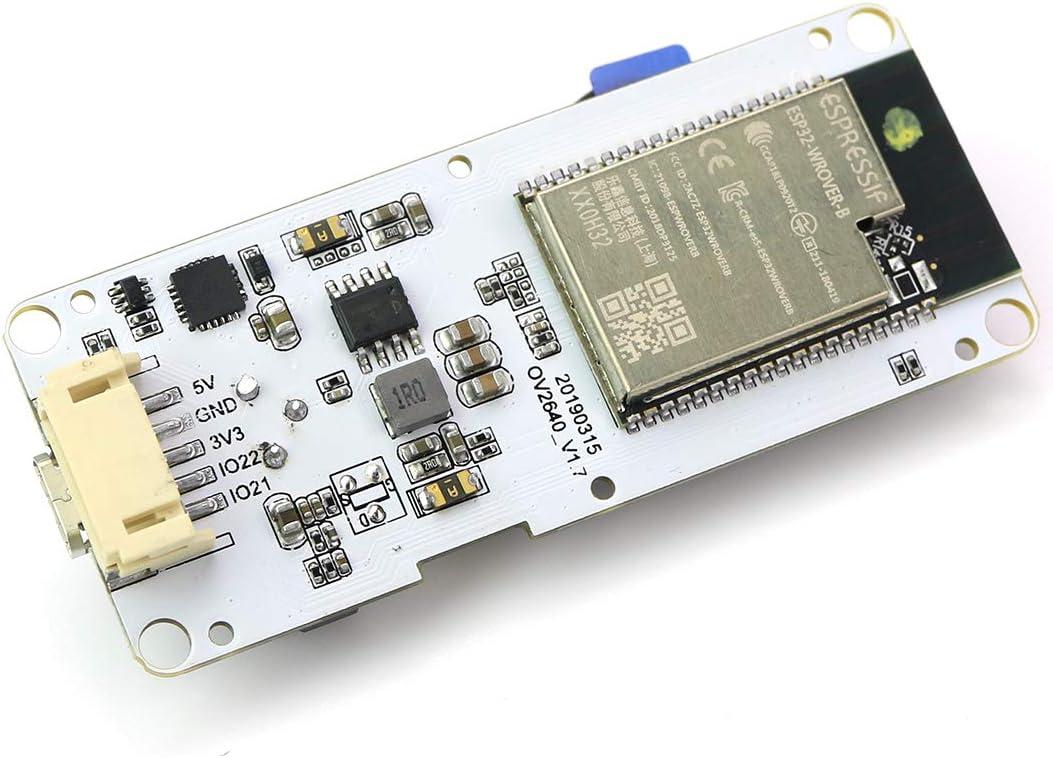 TTGO T-Camera ESP32 WROVER y PSRAM M/ódulo de c/ámara ESP32-WROVER-B OV2640 M/ódulo de c/ámara 0.96 OLED Lente Ojo de pez con micr/ófono