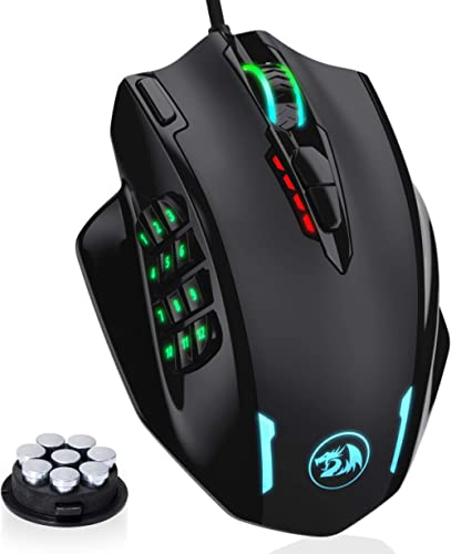 Redragon M908 IMPACT RGB Gaming Mouse, 12400 DPI Wired Laser MMO Mouse with High Precision Actuation, 12 Macro Side B...