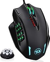 Redragon M908 Impact RGB LED MMO Mouse con botones laterales para juegos con cable - Sensor óptico con 12,400 DPI, alta precisión, 19 botones de mouse programables