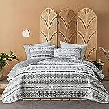 FlySheep 3-Piece Lightweight Bohemian Geometric Queen Quilt Set, Aztec White n Black Striped Summer Bedspread/Coverlet, Brushed Microfiber for All Season - 92' x 90'