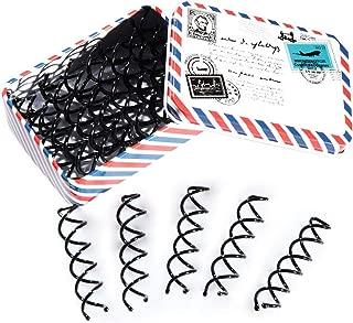 Hisight Black Spiral Hair Pin DIY Hair Style Sleek and Compact Alloy Construction Fluffy Screw Hair Pins - 15 Boxs (Postcard Box)