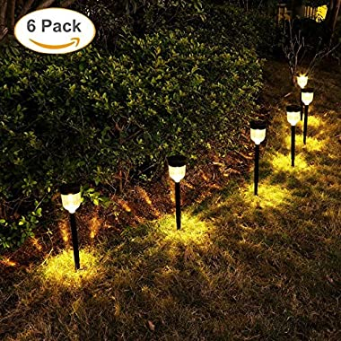 GELOO Solar Outdoor Lights 6-Pack Solar Pathway Lights Outdoor Garden Lights Outdoor Landscape Lighting for Lawn, Yard, Patio, Driveway, Walkway, Warm White