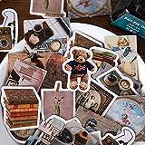 JZLMF Pegatina Retro Vintage Estilo Clásico Viajar Mini Caja Pegatinas Scrapbooking Planificador Diario Deco Papelería Pegatinas 64 Unids/Caja