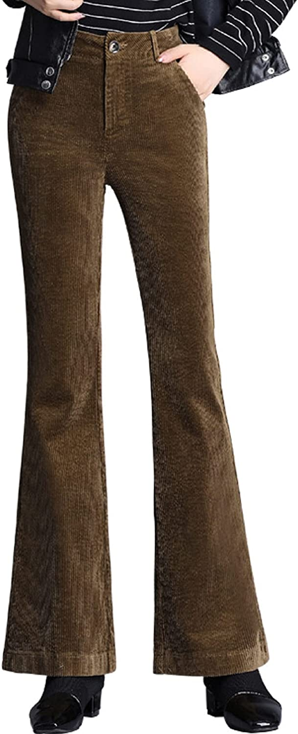 CHARTOU Women's Vintage Corduroy High Rise Flared Bell Bottom Slim Fit Pants