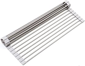 Dish Drying Rack KIBEE Multipurpose Roll Up Sink Rack Silicone Coated Stainless Steel Over the Sink Drainer Gadget Tool for Many Kitchen Task(Large Gray)