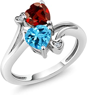 1.91 Ct Heart Shape Garnet and Swiss Topaz 925 Sterling Silver Women's Ring (Available 5,6,7,8,9)
