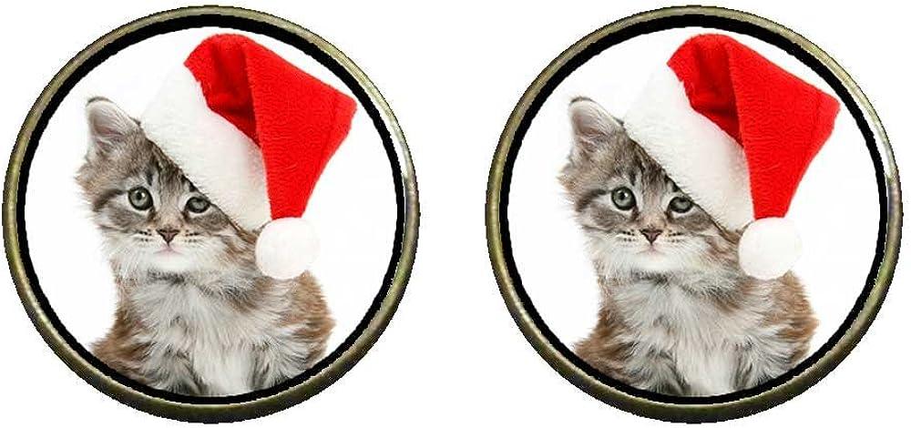 GiftJewelryShop Bronze Retro Style Wearing a Santa Hat cat Photo Clip On Earrings 14mm Diameter