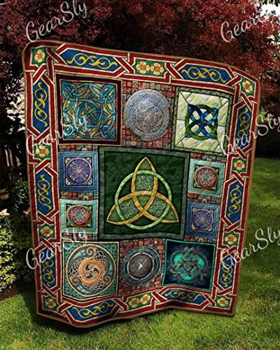 Vintage Celtic Trinity Knot Artwork Quilt King Size - All Season Comforter with Cotton Quilt Queen/King/Twin - Best Decorative Unique Banklet for Traveling, Picnics, Beach Trips, Gifts