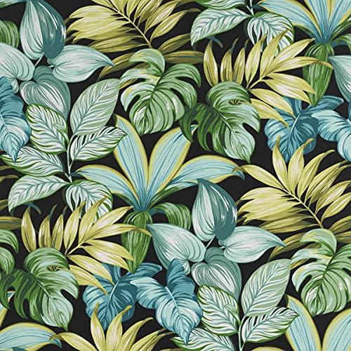 SCHÖNER LEBEN. Tela para exterior MAJORQUE hojas de palmera, negro y verde, 1,50 m de ancho