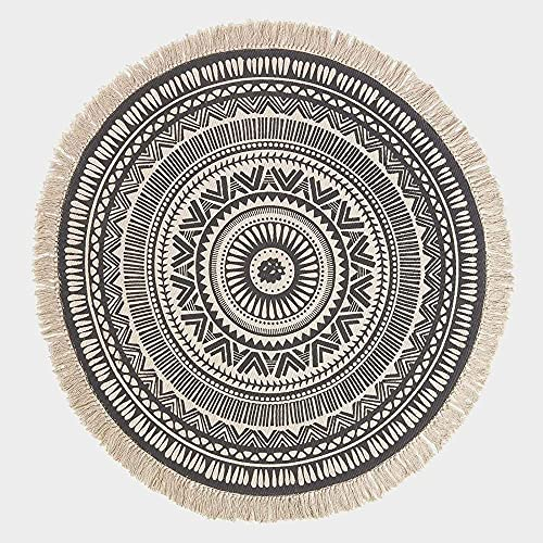 Alfombra Blanca y Negra 100% Algodón Redonda 90cm Alfombra Mandala Ancha con Borlas Alfombra Bohemia Chic Tejida a Mano con Estampado para Sala de Estar y Dormitorio