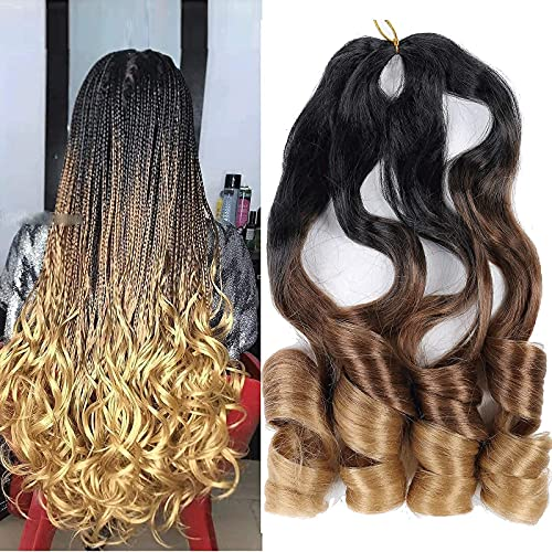6 Pack Pre Stretched Braiding Hair 75g/Pack 22 inch Wavy Bouncy Braiding Hair For Black Women French Curly Braids T/30/27