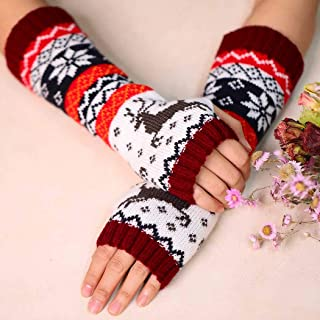 Zoestar Winter Arm Warmers Crochet Knit Fingerless Gloves with Thumb Hole Long Elk Arm Gloves for Women  (Red)