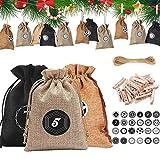 HIQE-FL 24 Piezas Bricolaje Calendario Adviento,Bolsa de Calendario de Adviento,Calendario de Adviento con 24 Pegatinas Utiliza para fFiestas de Navidad (A)