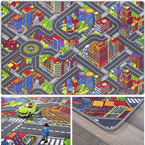 andiamo 293371 Kinderteppich Game City Bunt, Teppich mit detailiertem Straßenmotiv, Größe:140 x 200 cm
