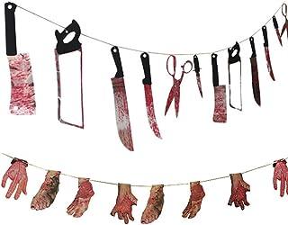 dancepandas Halloween Cuchillo Sangre Horror Manos y pies Rotos Guirnaldas Banner decoración de la casa embrujada Bar Banner