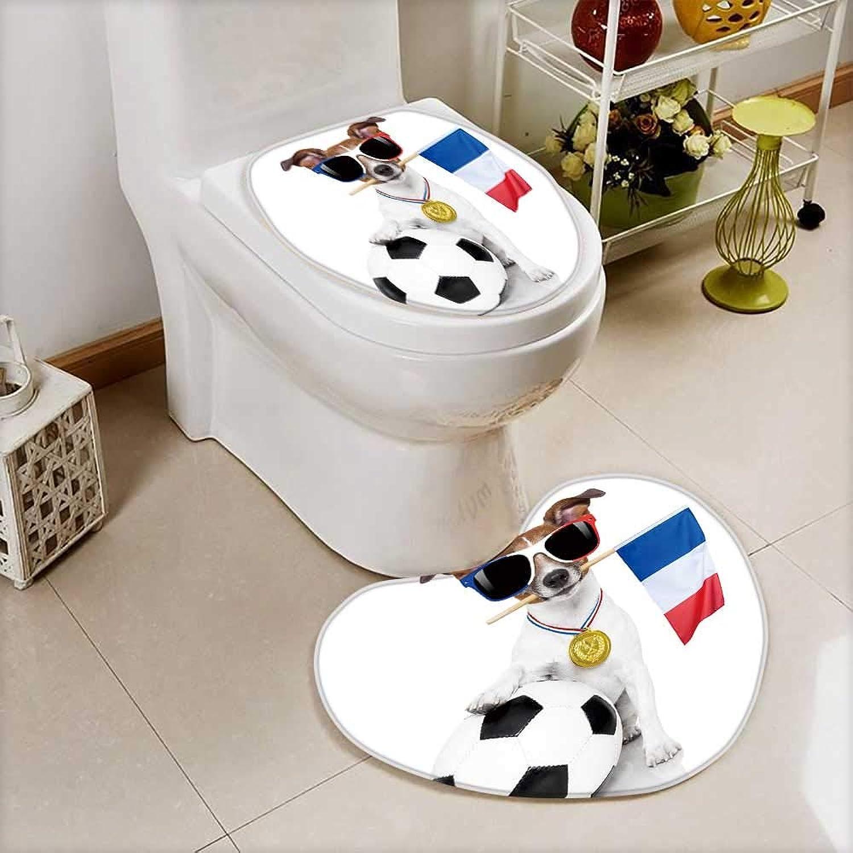 Printsonne 2 Piece AntiSlip mat Set Jack Russell Dog Football AntiSlip Water Absorption
