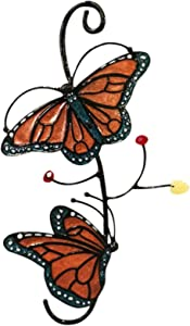 SIZHINAI Tech Hanging Butterfly Decorations, Stained Epoxy Monarch Butterfly on Glass Window Decor Home Car Window Hanging Decoration (Red)