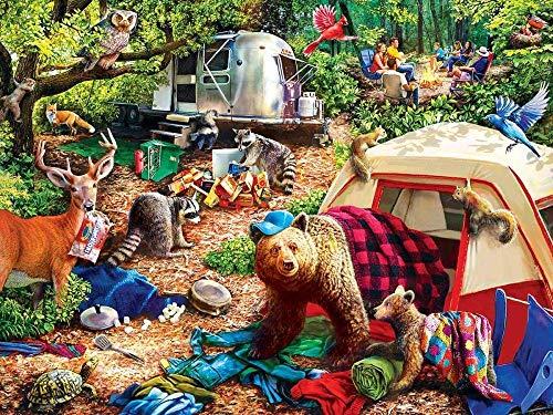 Puzle de 1000 piezas, diseño de campamento, rompecabezas de animales, regalo para los amantes del papel imposible muy difícil.