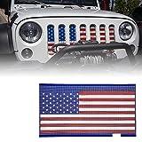 Xprite Grill Mesh Inserts American Flag Matte Steel Mesh Grille Grid for 2007-2018 Jeep Wrangler JK JKU
