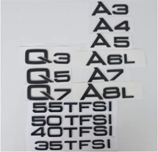 Glossy Gloss Black Rear Trunk Letters Badge Emblem Emblems for Audi A3 A4 A5 A6 A7 A8 A4L A6L A8L Q3 Q5 Q7 35 40 45 50 55 TFSI (A4)