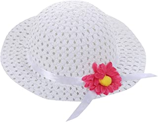 Fabal Baby Kids Girl Summer Floral Flower Straw Visor Sun Hat Beach Hats