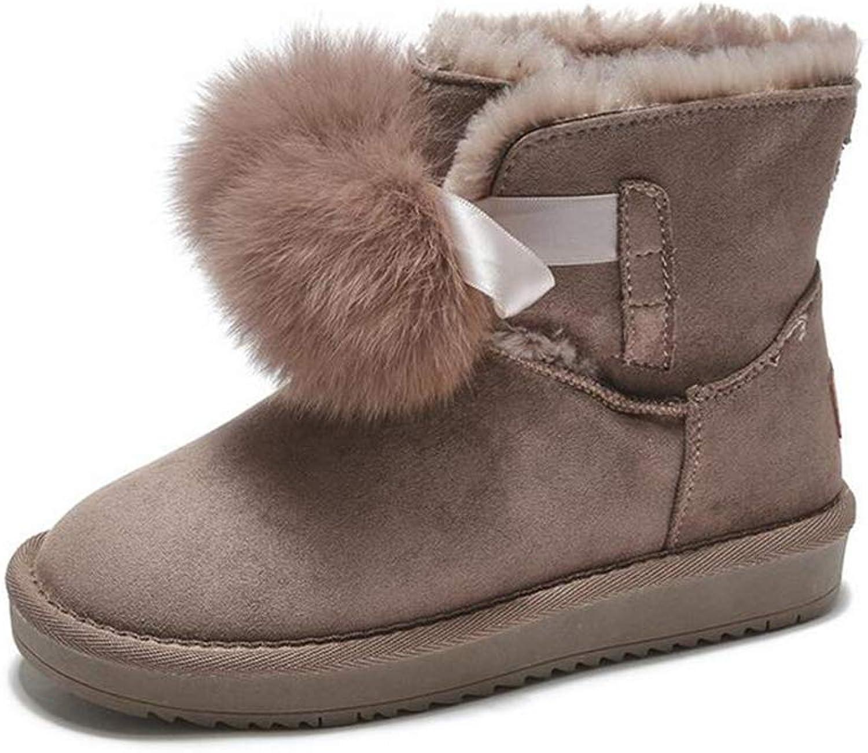 Hy Damen Stiefel Winter Fashion Plus Kaschmir Stiefelies, Damen Warm Windproof Snowproof Snow Stiefel Student Flache Winterstiefel Outdoor Ski Schuhe Größe  35-40 (Farbe   Camel, Größe   38)  | Hohe Qualität und geringer Aufwand
