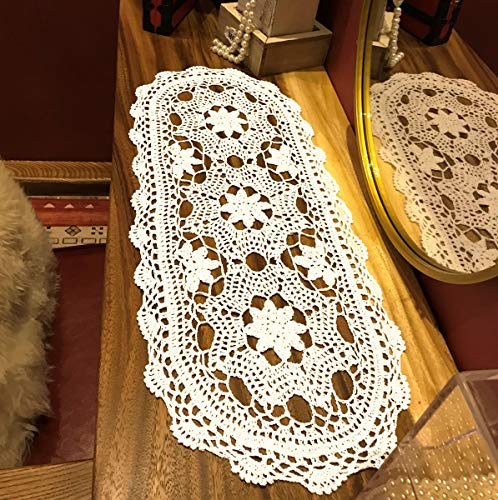Janef White Handmade Crochet Doilies Cotton Table Runner Lace Doilies Doily Oval Dresser Scarves for bedrooms,12 by 28 Inches.