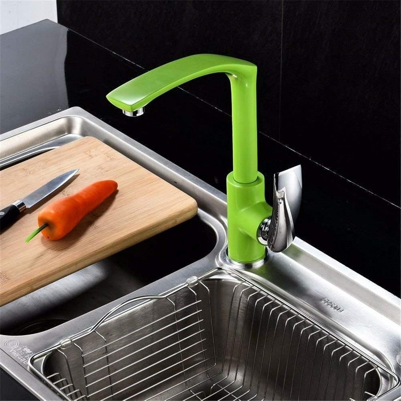 Oudan Kitchen Bath Basin Sink Mischbatterie Wasserhahn Grün Massivem Messing Farbe Schwenkauslauf heier und kalter Waschbecken Wasserhahn (Farbe   -, Gre   -)