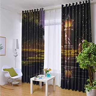 Andrea Sam Balcony Curtains Landscape,Idyllic Scenery at Night with a Stone Lantern Fireflies and Forest Trees Swamp,Multicolor,W84 xL84 for Patio Light Block Heat Out Water Proof Drape