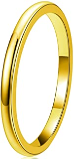 Three Keys Jewelry 2mm 24k Gold Plated Womens Tungsten Wedding Ring for Women Wedding Band Engagement Ring