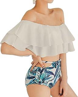 ce3fe3e2ec Beauty7 Women Bikini Two Piece Set Ruffled Flounce Off Shoulder Top Swimsuit